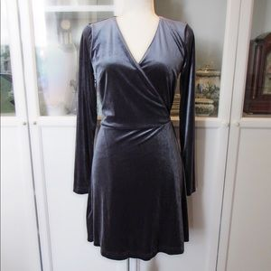 NWT Ann Taylor Loft Slate Grey Velvet Wrap Dress